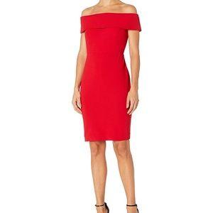 Calvin Klein Off the Shoulder red dress 4